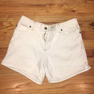 White denim polo shorts